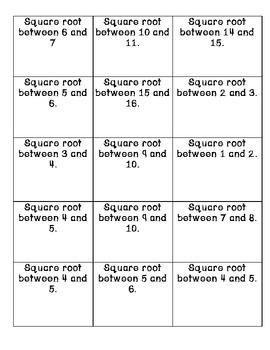 Square Root Estimation Match CCSS 8.EE.2 8.NS.2