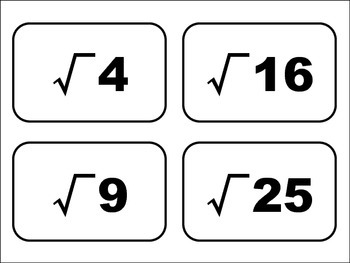 Square Root Flash Cards