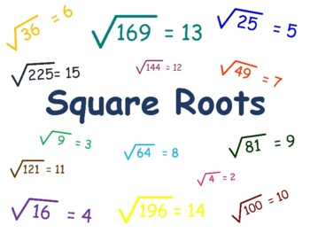 Square Root Flashcards-study guide, task cards, classroom