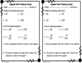 Square Root Fluency Check / Quiz:  No Prep Fluent in Math Series