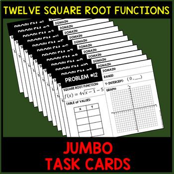 Square Root Functions Graphing Review Jumbo Cards