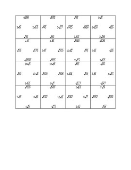Square Root Matching Puzzle