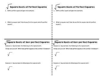 Square Root Notes for Interactive Notebooks