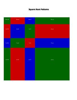 Square Root Patterns - Montessori Material