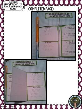 Square Root Method (Solving Quadratic Equations) Foldable Page