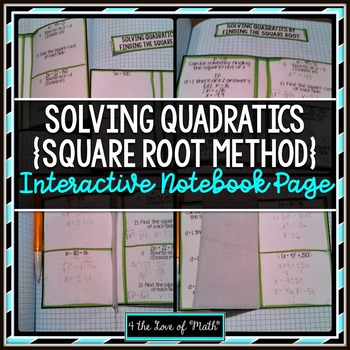 Square Root Method (Solving Quadratic Equations) Foldable Page