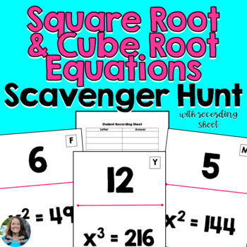 Square Root and Cube Root Equations Scavenger Hunt Activity