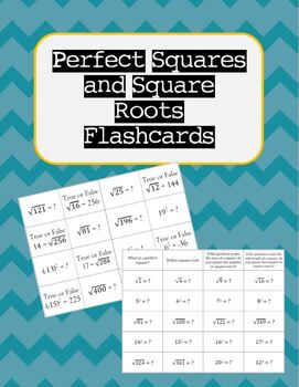 Square Root and Perfect Squares Flashcards (VA SOL 7.1d)