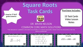 Square Roots - (15 Task Cards & Interactive Video Lesson)