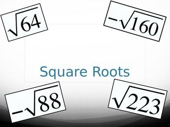 Square Roots - Between What Two Integers? PowerPoint Practice