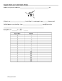Square Roots & Cube Roots Guided Notes