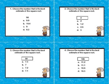 Square Roots-Estimate a Square Root-40 Task Cards-Multiple Choice