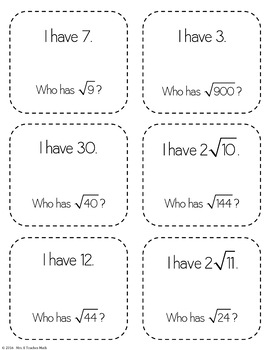 "Square Roots ""I Have, Who Has"" Game"