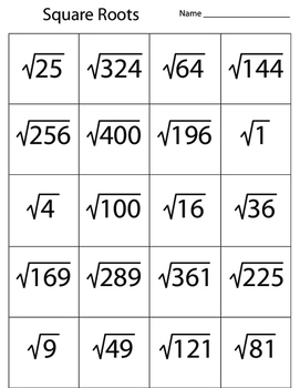 Square Roots & Numbers Squared