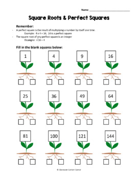 Square Roots & Perfect Squares Worksheet