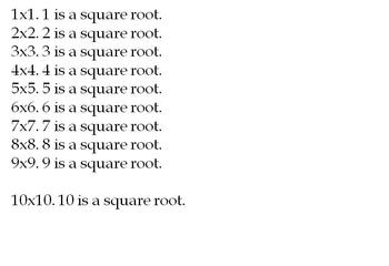 Square Roots Power Point Lesson