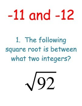 Square Roots Scavenger Hunt - Between What Two Integers?