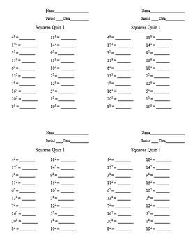 Squares 1 - 20 Speed Quiz