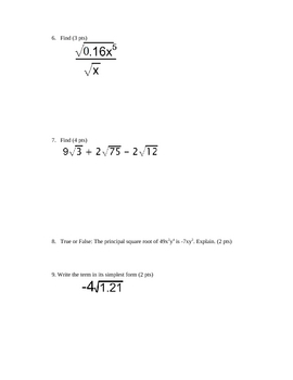 Square Roots Test-Integrated Algebra