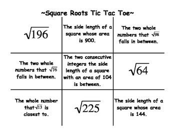 Square Roots Tic Tac Toe Activity