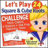 Square and Cube Roots CHALLENGE - 4 Math Stations - Great