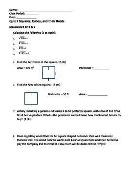 Square Roots and Cube Roots Quiz