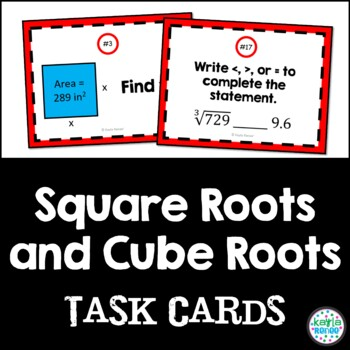 8th Grade Square Roots and Cube Roots Task Cards