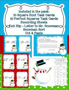 Square Roots and Perfect Squares with a Snowman Task Cards & Sorts