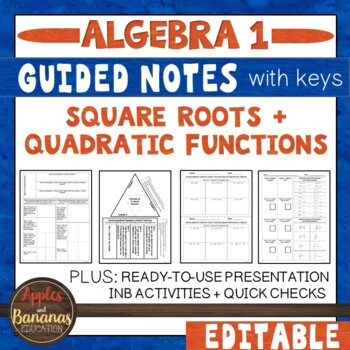 Square Roots and Quadratic Functions - Interactive Notebook Activities