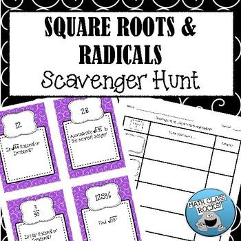 Square Roots & Radicals Scavenger Hunt! (Task Cards/Skill