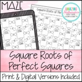 Square Roots of Perfect Squares Maze Worksheet Activity -