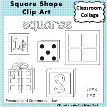 Square Shape Clip Art line drawing B/W personal & commercial use Geometric shape