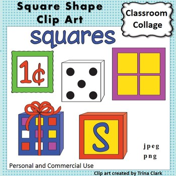 Square Shape Clip Art  Color personal & commercial use Geo