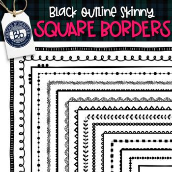 Square Skinny Borders   30 Black outline transparent and Filled Frames
