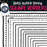 Square Skinny Borders | 30 Black outline transparent and F