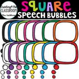 Square Speech Bubbles {Speech Bubble Clip Art}