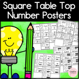 Square Table Top Number Posters: Number, Number Word and T