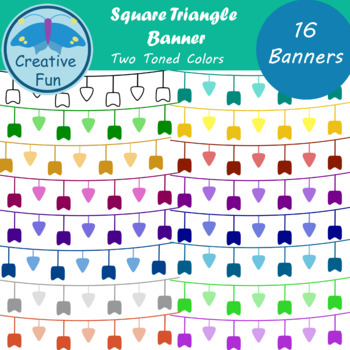 Square Triangle Banner Clipart: Two Toned