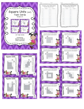 Area Task Cards & Intractive Notebook Pages : Grades 2-4