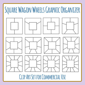 Square Wagon Wheel Graphic Organizer Blank Template Clip Art Commercial Use