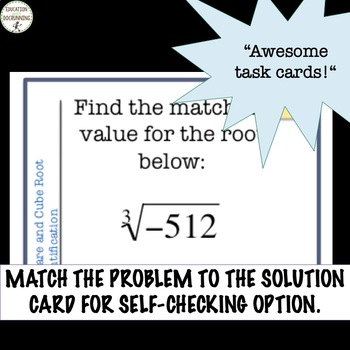 Square and Cube Root Task Card Activity for Radicals