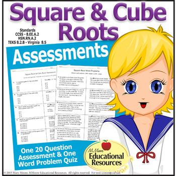 Square and Cube Roots - 2 Assessments, Quizzes, Test - One with Word Problems