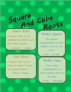 Square and Cube Roots 8th Grade Common Core/Ohio's New Learning Standards