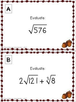 Square and Cube Roots - Autumn (Back to School) Theme