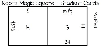 Square and Cube Roots Magic Square Puzzle - Math Centers