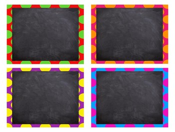 Square and Rectangle Polka Dot Chalk Board Labels