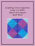 Graphing Linear Equations using x-y tables - Square-in-a-square Quilt Block