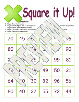 Square it Up Multiplication Practice
