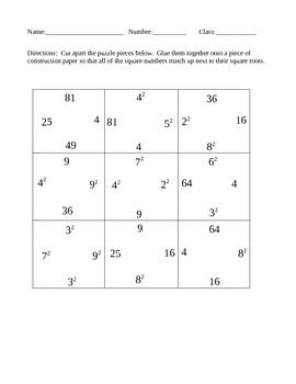Square numbers and square roots puzzle