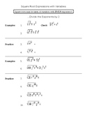 Square root expressions with variables